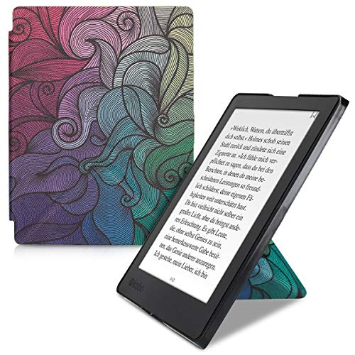 kwmobile Origami Case Compatible with Kobo Aura H2O Edition 2 - Slim Premium PU Leather Cover with Stand - Multicolor Dark Pink/Blue/Green