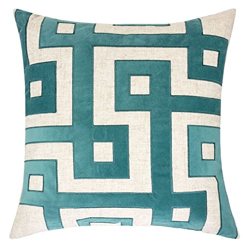 Homey Cozy Applique Linen Throw Pillow Cover, Lullita Teal Geometric Decorative Square Couch Cushion Pillow Case 20 x 20 Inch, Cover Only