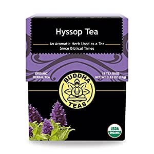 Buddha Teas Organic Hyssop Tea | 18 Bleach-Free Tea Bags | Aromatic | Anti-Inflammatory | Antioxidants | Digestion | Made in the USA | Caffeine-Free | No GMOs