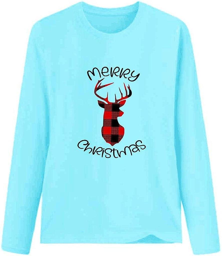 Keepmove Women Winter Tops Plus Size Print Letter Long Sleeve Round Neck T-Shirt Fashion Blouse Tops
