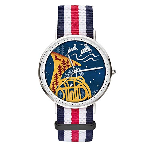 (Nylon Strap Watch Wrist Watch Golden French Horn with Blue White Red Striped Canvas Band Analog Quartz Business Casual for Men Women)