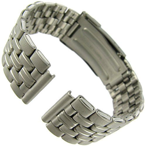 (16mm Milano All Titanium Gray Tone Deployment Buckle Clasp Watch Band)