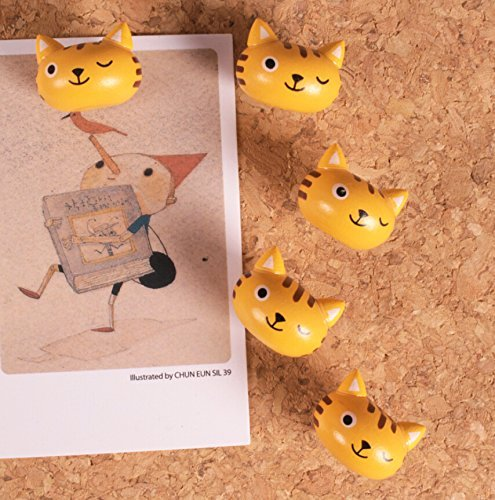 Cute 3D Cartoon Wooden Cat Head Pushpins for Corkboard / Decrorative Thumb Tacks Set of 5 PCS