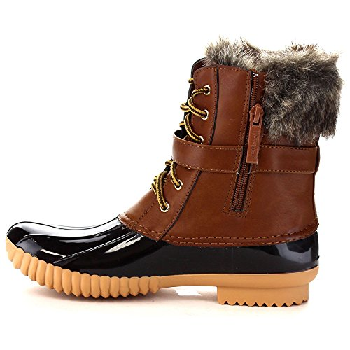 Up 01 Lace Breeze Womens Duck Boots Nature Brown Waterproof Snow Duck Buckled Chic TYqpw