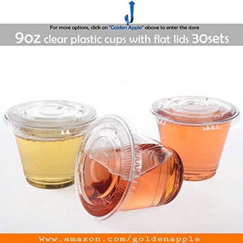 - GOLDEN APPLE,9oz Plastic cups with flat lid no hole 30sets