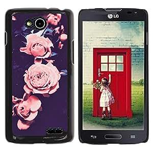 YOYOYO Smartphone Protección Defender Duro Negro Funda Imagen Diseño Carcasa Tapa Case Skin Cover Para LG OPTIMUS L90 D415 - subió viñeta rosa pétalo de la flor negro