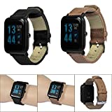 Compatible Xiaomi Huami Amazfit Bip Youth Watch Band Retro Leather Replacement Strap Replacement Bands for Huami Amazfit Bip Youth Watch, TLT Retail (Black)