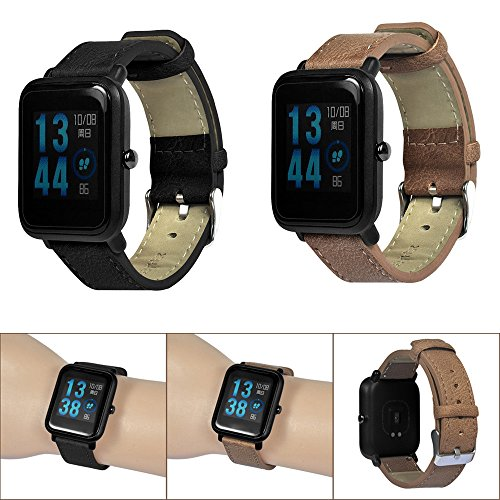 Compatible Xiaomi Huami Amazfit Bip Youth Watch Band Retro Leather Replacement Strap Replacement Bands for Huami Amazfit Bip Youth Watch, TLT Retail (Black) by TLT Retail (Image #5)