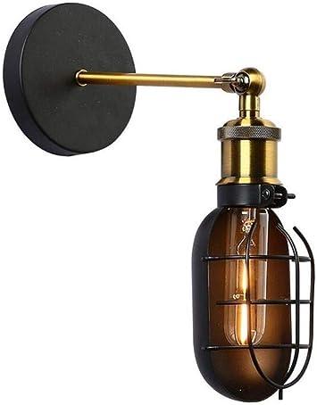 Mkjbd Linterna de Pared Lámpara de Jardín Lámpara de Pared Lámpara de Pared Vintage Apliques Industriales Tipo Loft Lámparas de Pared Antiguas Ajustables Pantalla de Metal Negro Brazo Flexible de Col: Amazon.es: