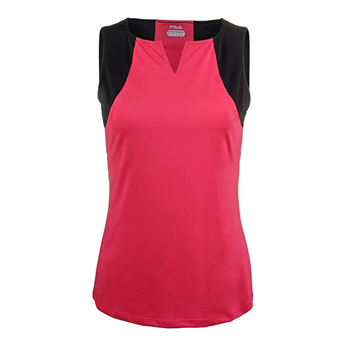df45697b Fila Women's Sleek Streak Full Coverage Tank Shirt, Ruby Rose, Black ...