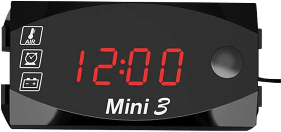 Kkmoon Dc 6v 30v 3 In 1 Auto Digital Voltmeter Zeitschaltuhr Thermometer Spannungsprüfer Ip67 Wasserdichter Led Display Messgerät Für Auto Motorrad Boot Rot Auto