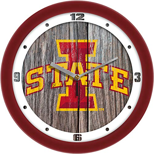SunTime Iowa State Cyclones - Weathered Wood Wall - Cyclones Clock Wall State Iowa