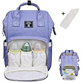 Baby Diaper Bag Backpack Multi-Function Waterproof Travel Nappy Tote Bags Large Capacity Creative Fashion Package For Both Mon&Dad//Blue-Purple