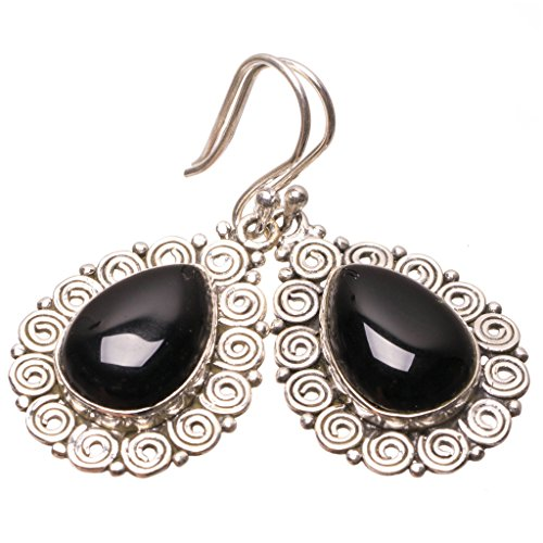 Natural Black Onyx Punk Style 925 Sterling Silver Earrings 1 1/2