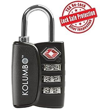 TSA Lock - 3 Digit Combination - Best TSA Approved Lock For Travel Safety and Security - Lock Alert, Heavy Duty Luggage Lock, TSA Suitcase Lock - Lock Safe Protection