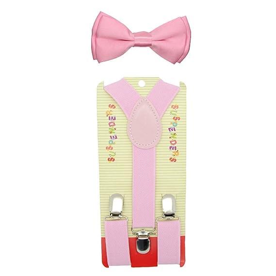 b138f74c76f2 Baby Toddler Kids Children Boys Girls Pink Bow Tie & Suspender Set:  Amazon.in: Clothing & Accessories