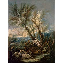 High Quality Polyster Canvas ,the Beautiful Art Decorative Canvas Prints Of Oil Painting 'Alessandro Magnasco,Elijah Visited By An Angel,1730', 12x16 Inch / 30x41 Cm Is Best For Foyer Artwork And Home Decor And Gifts