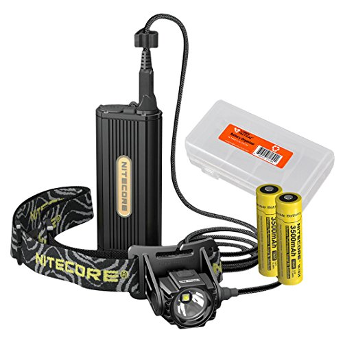 Nitecore HC70 1000 Lumen LED Headlamp with External Battery Case Plus 2X 3500mAh Rechargeable Batteries and Lumen Tactical Battery Organizer Bundle