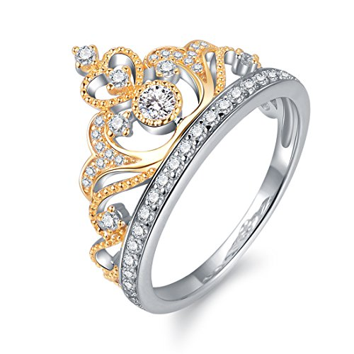 Yellow & White Gold Plated 925 Sterling Silver Princess Crown Ring - Top Tiara Ring Gift (Yellow-and-White-Gold-Plated-Silver, ()