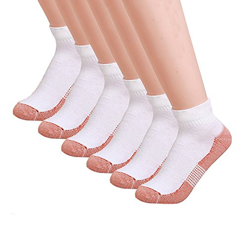 6 Pairs Copper Antibacterial Athletic Ankle Sport Socks For Men and Women (L/XL, WHITE) (Mens White Ankle Socks Xl)