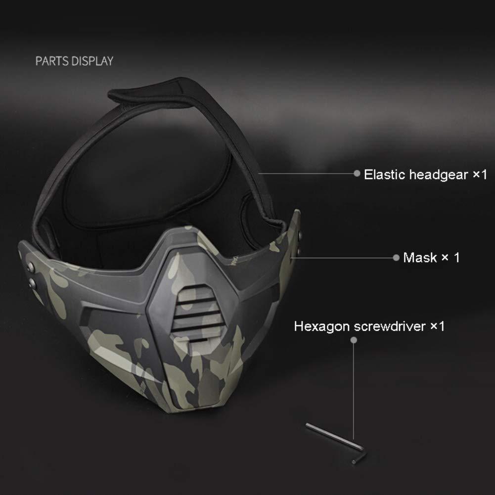 Balight t/áctico M/áscara de Caza Airsoft M/áscara Facial Disparos Wargames Camo Media Cara M/áscara Protectora M/áscara Inferior Paintball Protecci/ón M/áscara 1 PCS