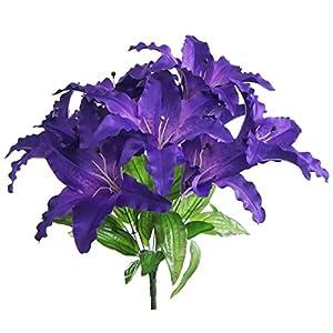 Lily Garden Large Tiger Lily 9-head Silk Flowers Bush Bouquet Artificial (Purple) 82
