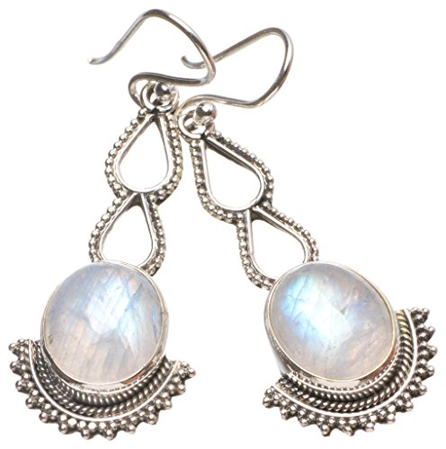 StarGems(tm) Natural Rainbow Moonstone Handmade Unique 925 Sterling Silver Earrings 2