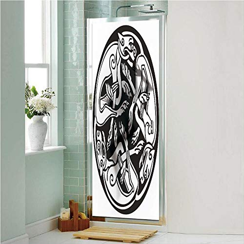 Celtic 3D No Glue Static Decorative Privacy Window Films, Three Dogs Biting Their Tails Animal Forms Vikings Heritage Celtic Knots Medallion,24