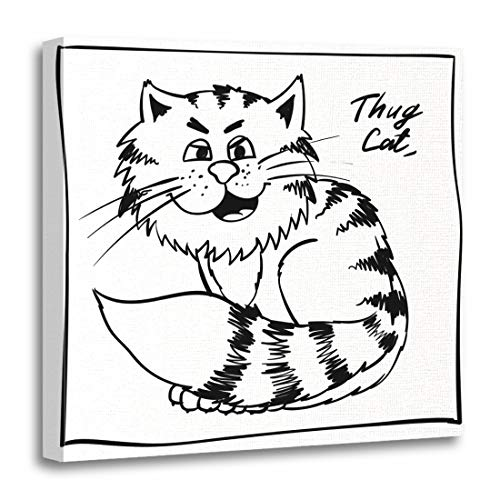 Emvency Canvas Wall Art Print Super Thug Kitty on The Holiday Rest Infantile Outline Sketch Cat for Coloring Book Bandit Animal Doodle Artwork for Home Decor 12 x 12 Inches