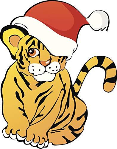 - EW Designs Cute Baby Tiger with Santa Hat Cartoon Icon Vinyl Decal Bumper Sticker (4