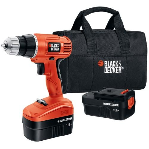 Black & Decker GCO18SB-2 18-Volt NiCad 3/8-Inch Cordless Drill/Driver with 2 Batteries and Storage Bag by BLACK+DECKER