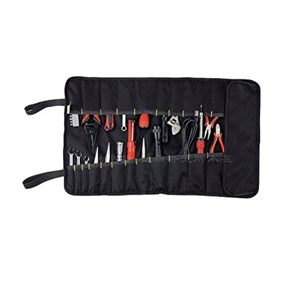 Tool Roll Pouch/Bag/Carrier 32 Pockets Wrench Bag Roll Up Professional Electricians Organizer (Black)