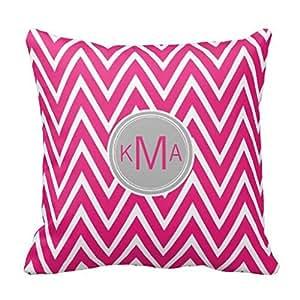 Decorativo Fundas de almohada de decoración para el hogar Rosa Chevron Custom Monogram funda de almohada Funda de cojín 20x 20pulgadas