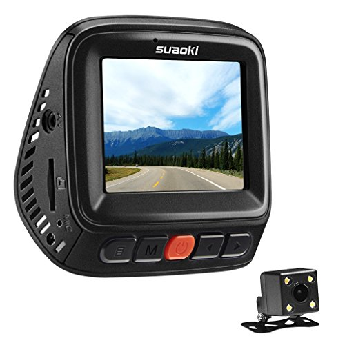SUAOKI WiFi Dash Cam Front and Rear Car Recorder Kit with 1080P FHD,APP,170°Wide Angle,G-Sensor,GPS Tracking,Loop Recording Emergency Recording,Night Vision, Parking Mode,Motion Detection