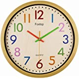 Foxtop Silent Colorful Kids Wall Clock 12.5 Inch Large Decorative Non  Ticking Wall Clock Vintage Country Style Battery Operated Clocks   Easy To  Read