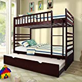 Merax Twin Over Twin Bunk Bed with Trundle Solid Wood Bunk Bed in Espresso Finish For Sale
