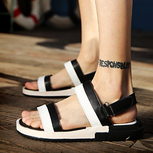 Sommer Männer Schuh Männer Freizeit Sandalen Echtleder Gemütlich Strand Schuh Mode Flip Flops Sandalen ,Weiß and schwarz,US=10,UK=9.5,EU=44,CN=46