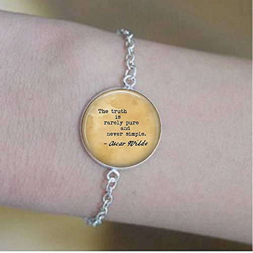 Oscar Wilde Quote The Truth is Rarely Pure and Never Simple - Book Lover - The Importance of Being Earnest Quote Bracelets