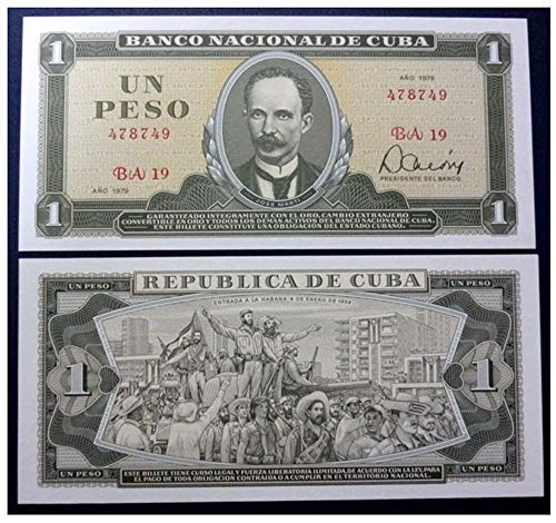1979 CU GEM UNICRC 1979 CUBAN PESO BANKNOTE w CASTRO'S TRIUMPHANT ENTRY TO HAVANA! MARTI PORTAIT! 20TH ANNIVERSARY ISSUE! 1 PESO Gem Crisp Uncirculated ()