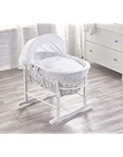 White Wicker Moses Basket & White Rocking Stand Baby Bed
