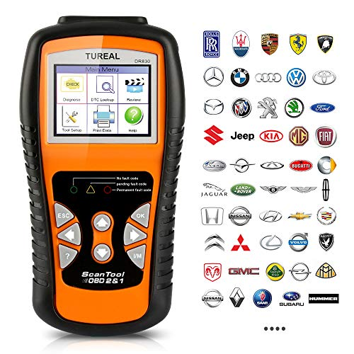 Tureal OBD2 Scanner, Professional Enhanced OBD II Vehicle Code Reader, 3.35 LCD Diagnostic Scan Tool with Engine O2 Sensor and EVAP System Scanners for All OBDII & Can Protocol Cars Since 1996