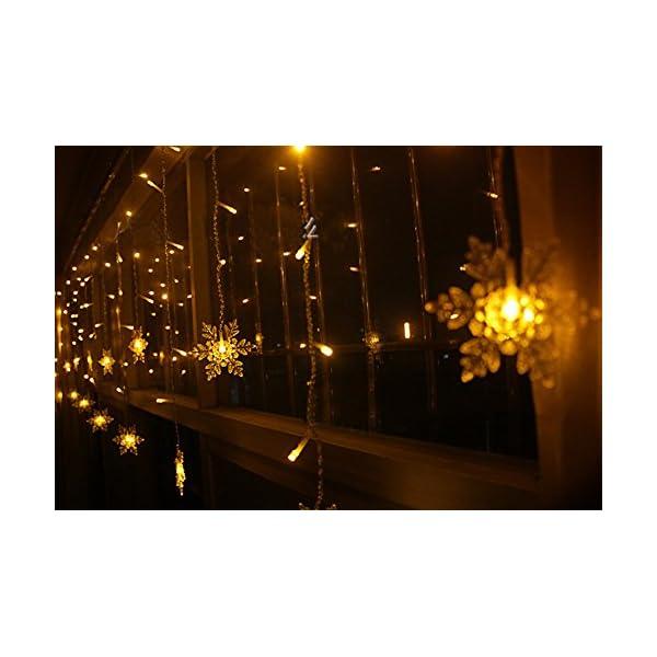 LED Tenda Luminosa, Catena Luminosa, Cascata led, Luci cascata, Luci per Tende, 3.5 * 0.8m 93Luci Stringa Bianco Caldo 8 Modalità Impermeabili IP44, per finestra, porta, patio, giardino, feste,Natale 3 spesavip