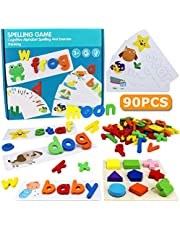 Yoego Word Spelling Practice Games,See and Spell Learning Early Education Cognitive Matching Letters with Colorful Wooden Geometric Shape Puzzle, Montessori Preschool Educational Toys for Age 3+
