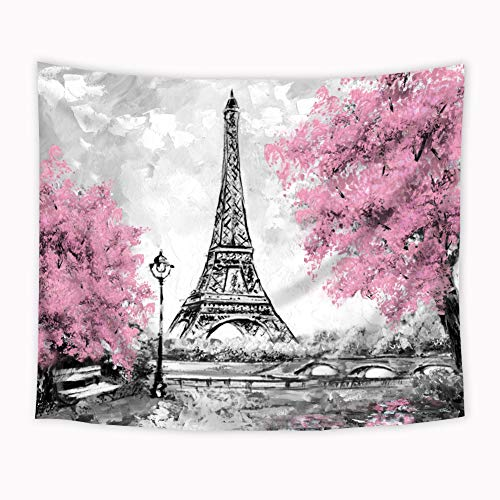 Wowzone Eiffel Tower Pink Tress Tapestry Oil Painting Paris Modern European City Landscape France City Black Gray Art Wall Hanging Bedroom Living Room Dorm Decor 51x59 Inch Fabric Polyester