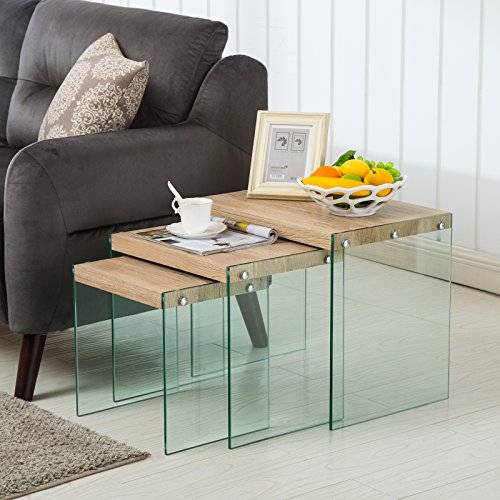 (LAGRIMA Nesting Table Set of 3 Glass Side End Coffee Table Wood Top Living Room Furniture Butternut)