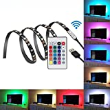 LED Strip TV Backlight Bias Lighting for HDTV/Laptop/Desktop 3.28ft RGB Color 5V USB Powered with Remote