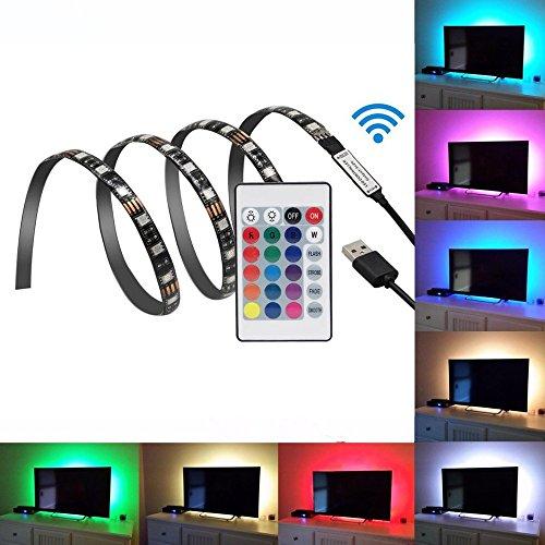 Gontic LED Strip Light TV Backlight Bias Lighting for HDTV/Laptop/Desktop 3.28ft RGB Multi Color 5V USB Powered with Remote Review