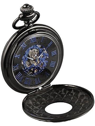 LYMFHCH Mechanical Pocket Watch Skeleton Hand-wind engraved Metal Blue Black … (black/blue) (Mechanical Pocket Watch Engraved)