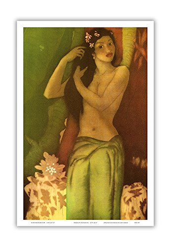 Hawaiian Decoration - Topless Hawaiian Girl - Vintage Menu Cover for the Royal Hawaiian Hotel (Pink Palace of the Pacific) by John Melville Kelly c.1946 - Hawaiian Master Art Print (The Royal Hawaiian Hotel)