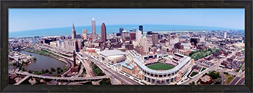 Aerial View Of Jacobs Field, Cleveland, Ohio, USA by Panoramic Images Framed Art Print Wall Picture, Espresso Brown Frame, 38 x 14 inches